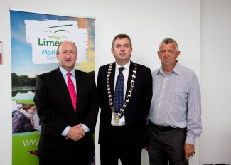 Pat Daly, Limerick City and County Council, Cllr John Sheahan Cathaoirleach and Eamonn Ryan at the announcement of the Limerick Marketing Company at the Clarion Hotel, Limerick.