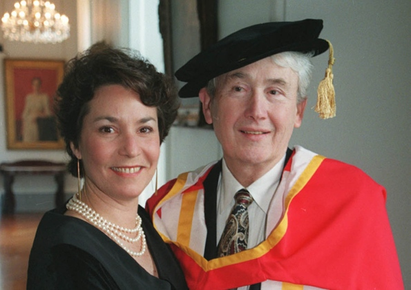 Teacher man: Frank McCourt receiving his honorary doctorate in letters from UL in 1997 with his wife Ellen